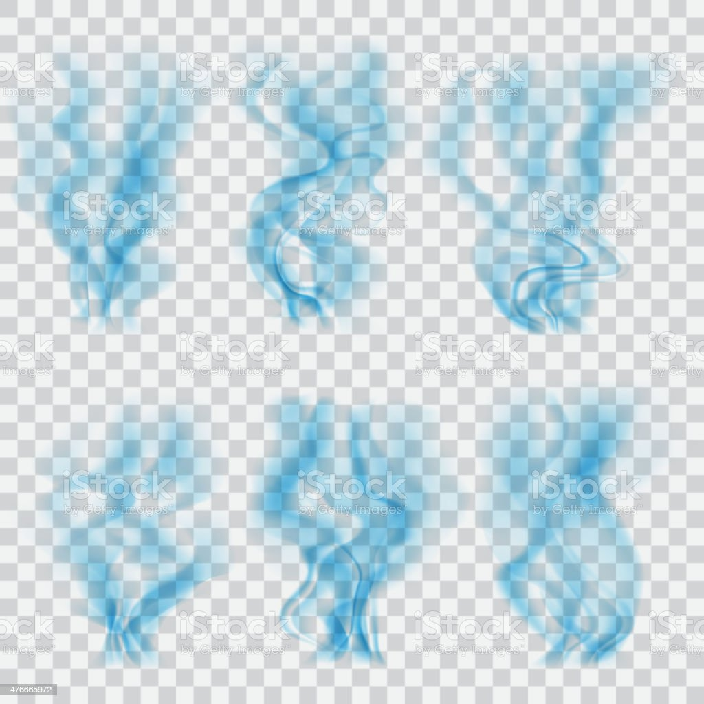 Set of translucent blue smoke. Transparency only in vector vector art illustration