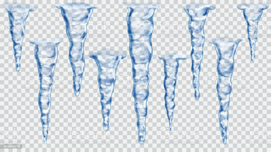 Set of translucent icicles vector art illustration