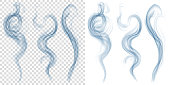 Set of translucent light blue smoke. Transparency only in vector