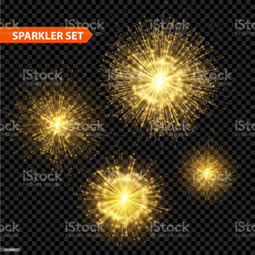 Set of transparent Christmas sparkler. Vector illustration vector art illustration