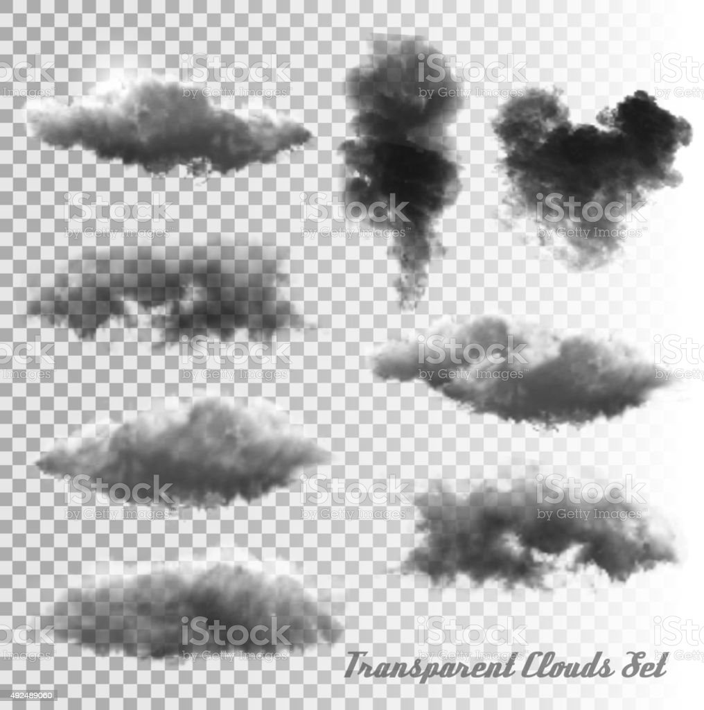 Set of transparent clouds and smoke. Vector. vector art illustration