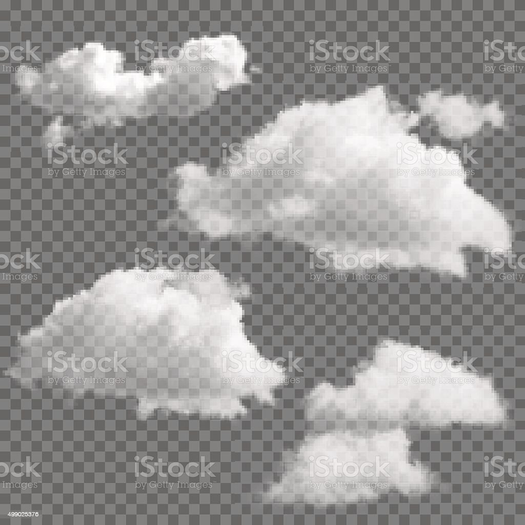 Set of transparent clouds vector art illustration