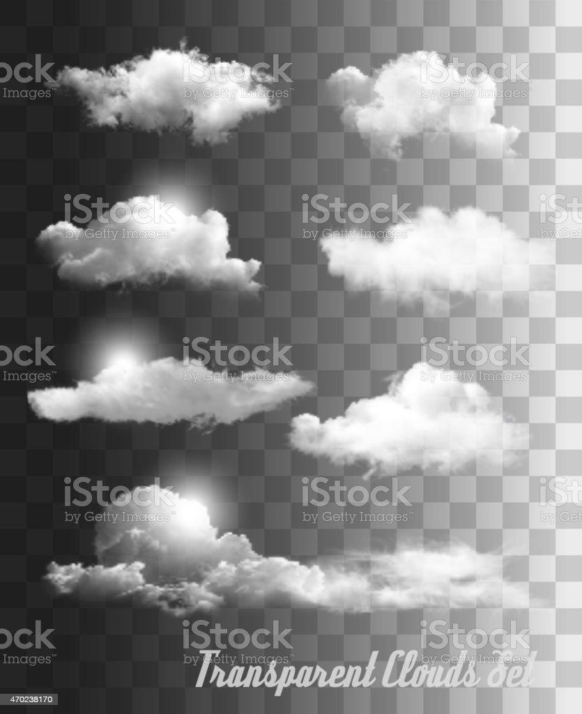 Set of transparent clouds. Vector. vector art illustration
