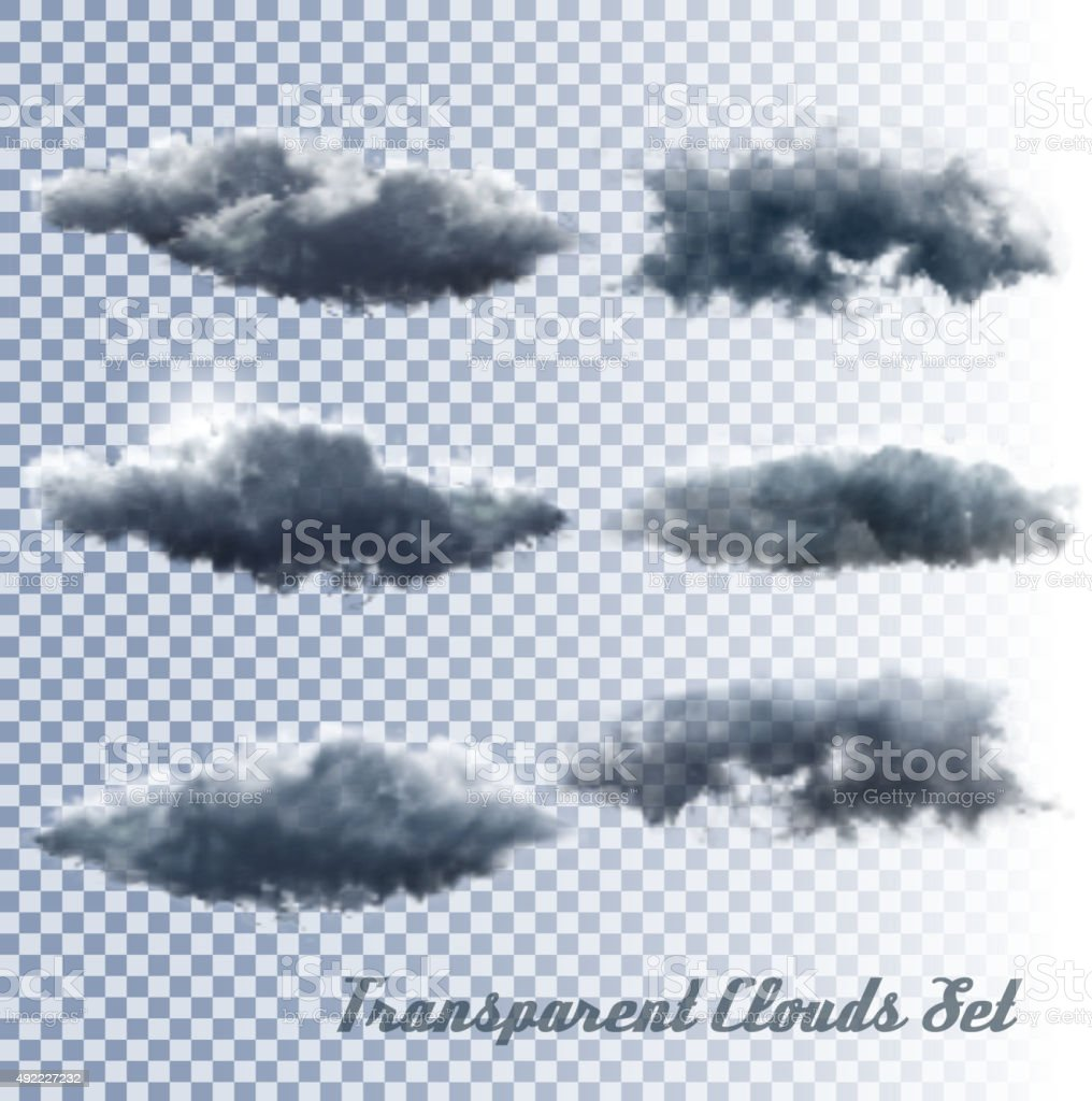 Set of transparent clouds. Vector vector art illustration