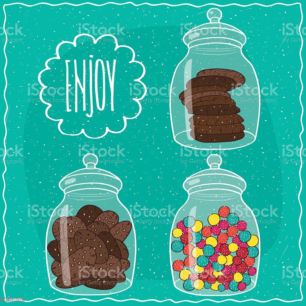 Set of transparent glass jars with sweets vector art illustration