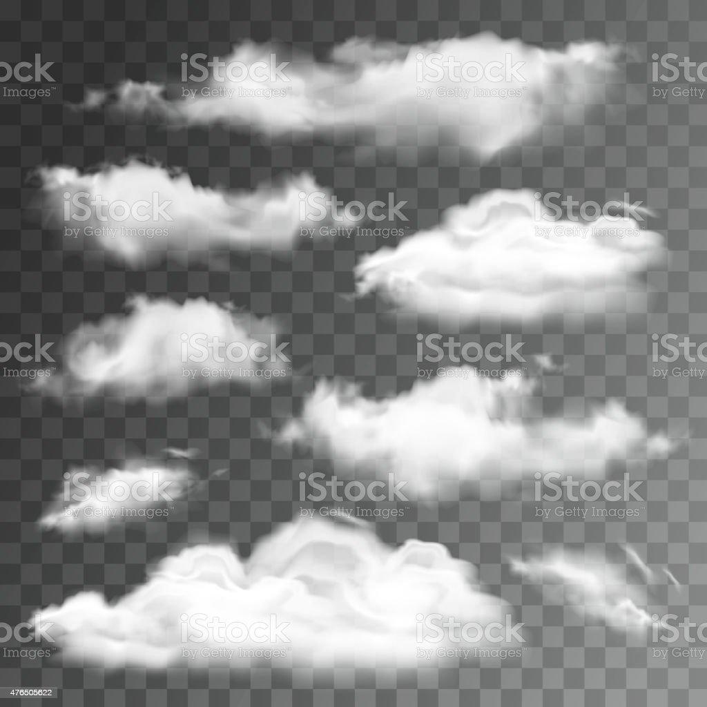 Set of transparent realistic clouds. Vector illustration vector art illustration