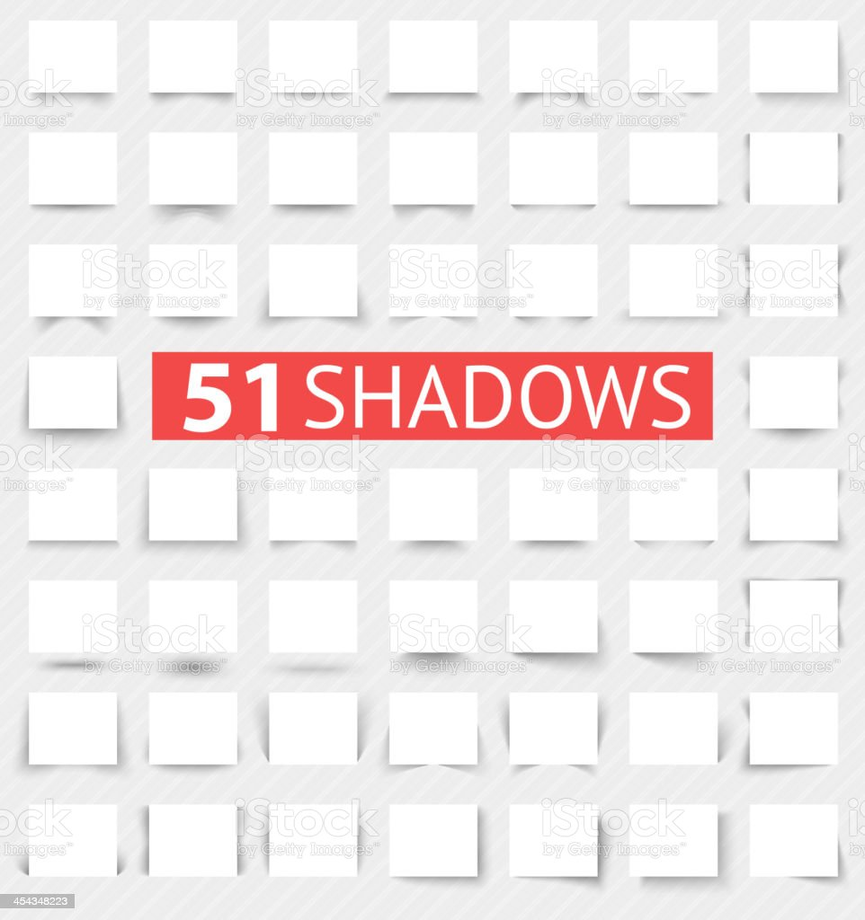 Set of transparent realistic shadow effects vector art illustration