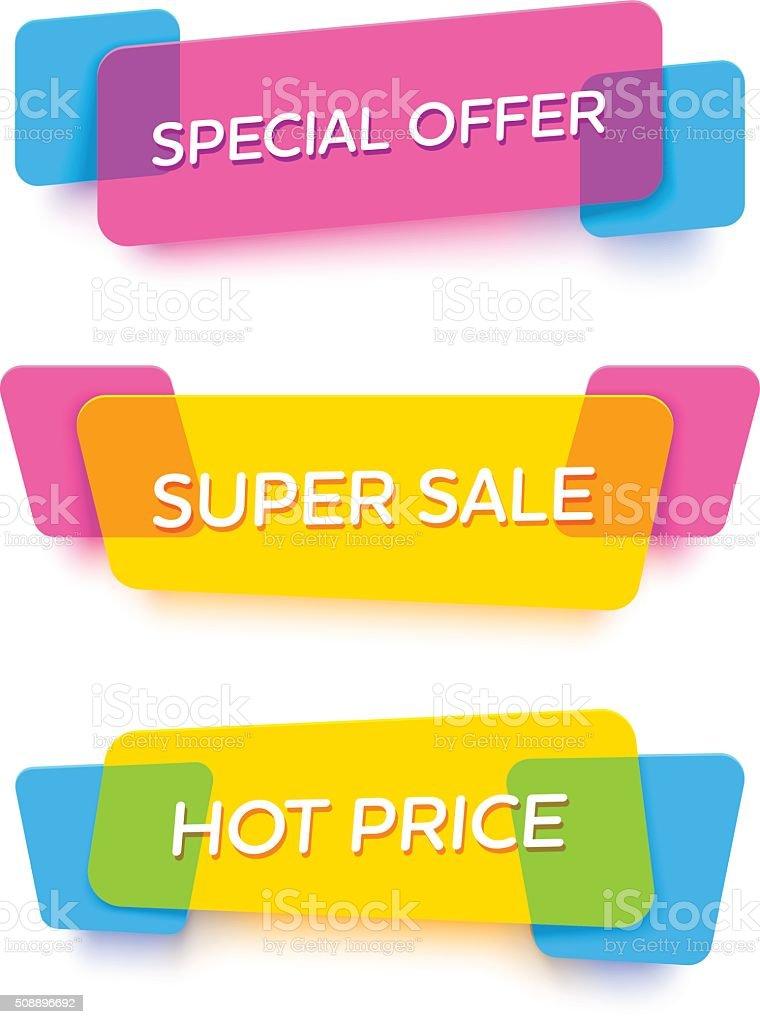 Set of transparent vector banners. Vivid plastic cards. vector art illustration