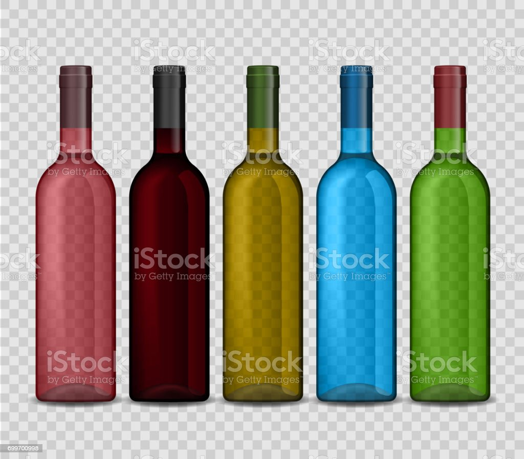 Set of transparent vector bottle of wine on checkered background vector art illustration