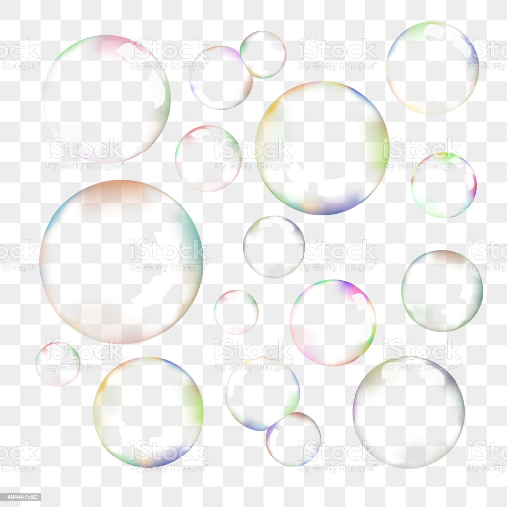 Set of transparent vector soap bubbles vector art illustration