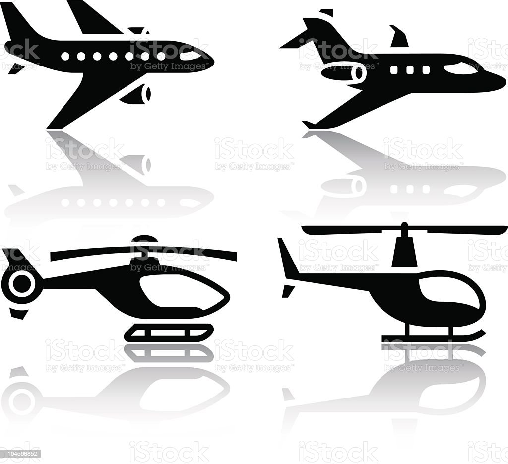 Set of transport icons - airbus and helicopter royalty-free stock vector art