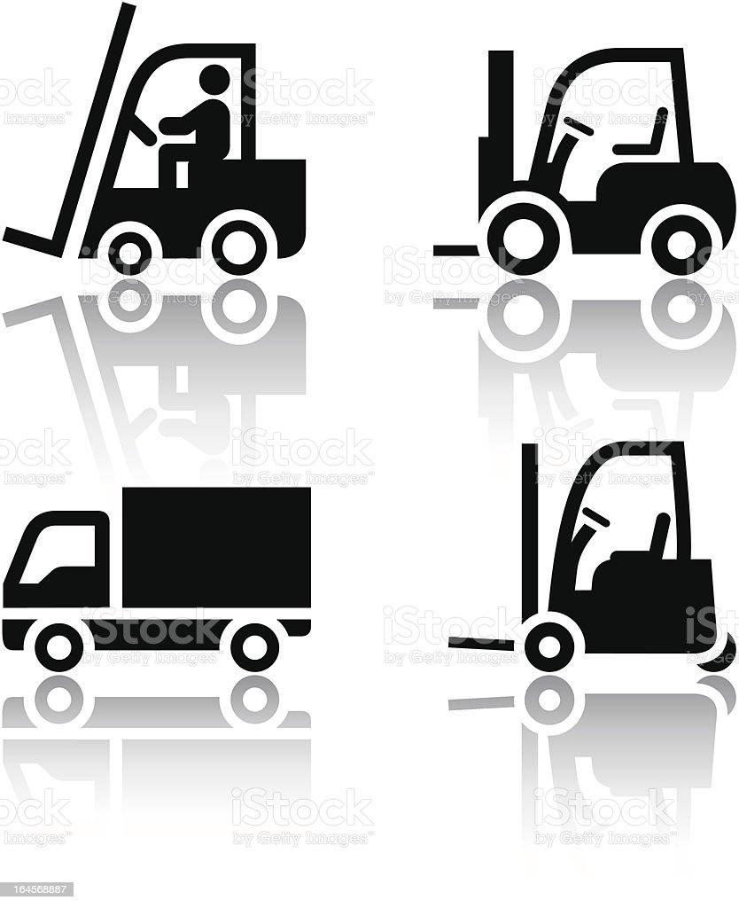 Set of transport icons - loader vector art illustration
