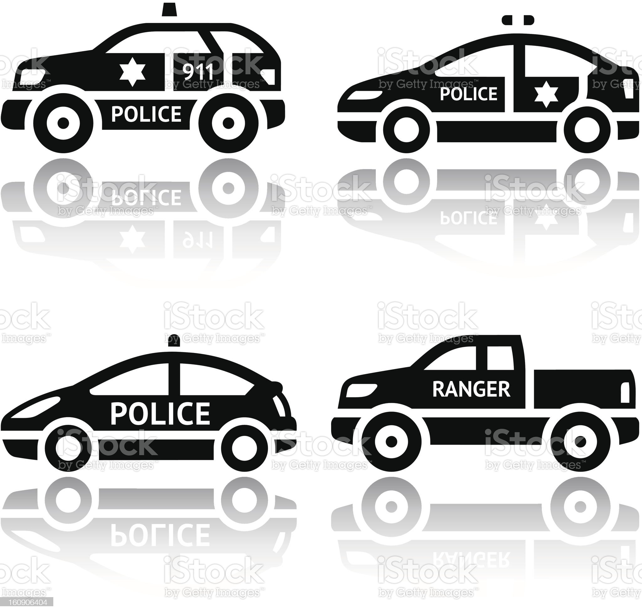 Set of transport icons - Police cars royalty-free stock photo