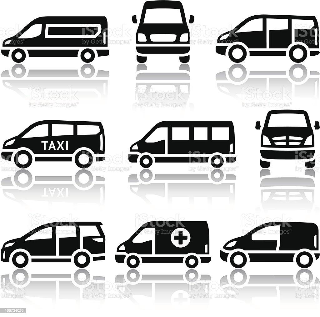 Set of transport icons - Van vector art illustration