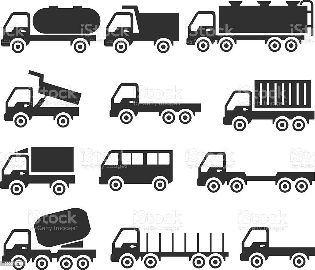Set of transport icons vector art illustration