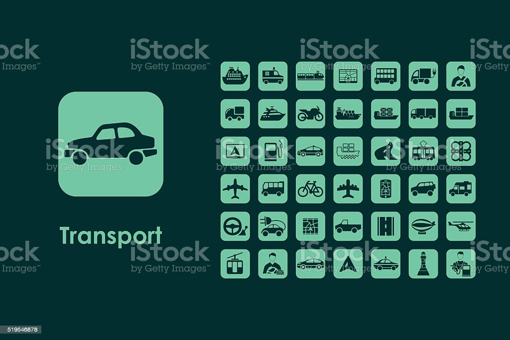 Set of transport simple icons vector art illustration