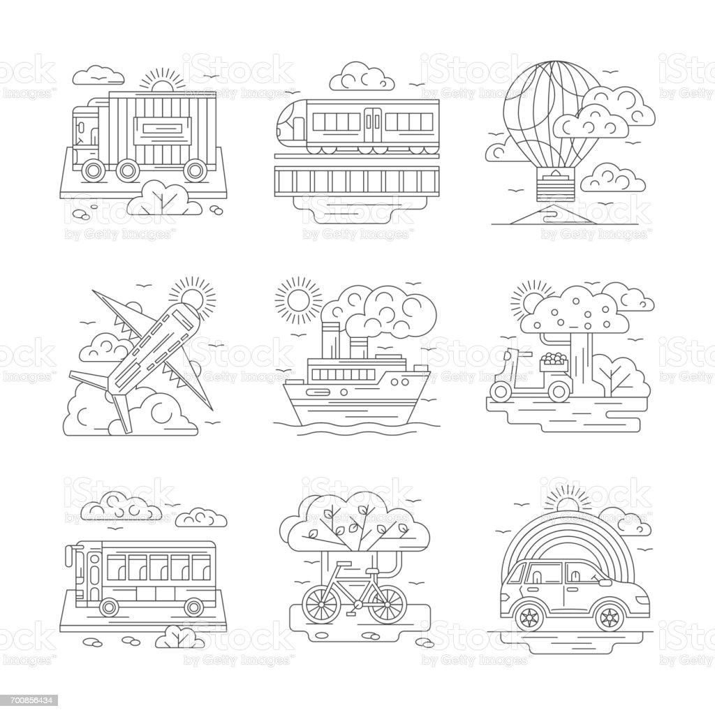 Set of transportation detailed line vector icons vector art illustration