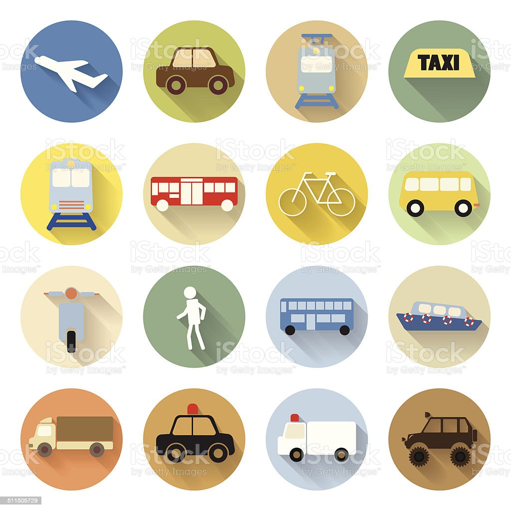 set of transportation icon flat style with long shadow vector art illustration