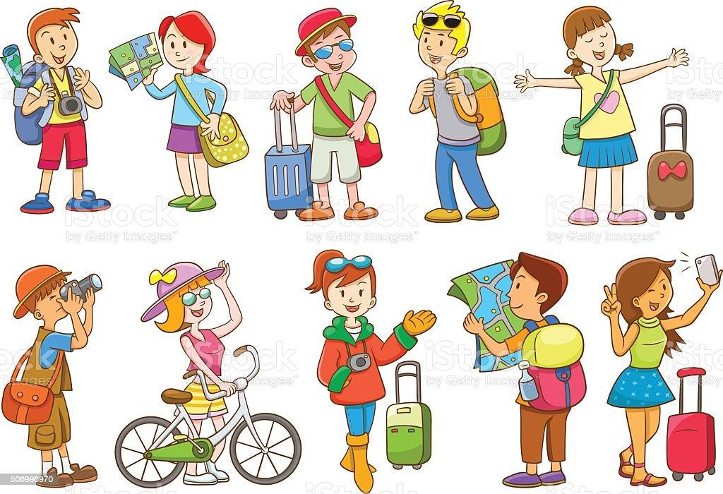 set of  travel cartoon character vector art illustration