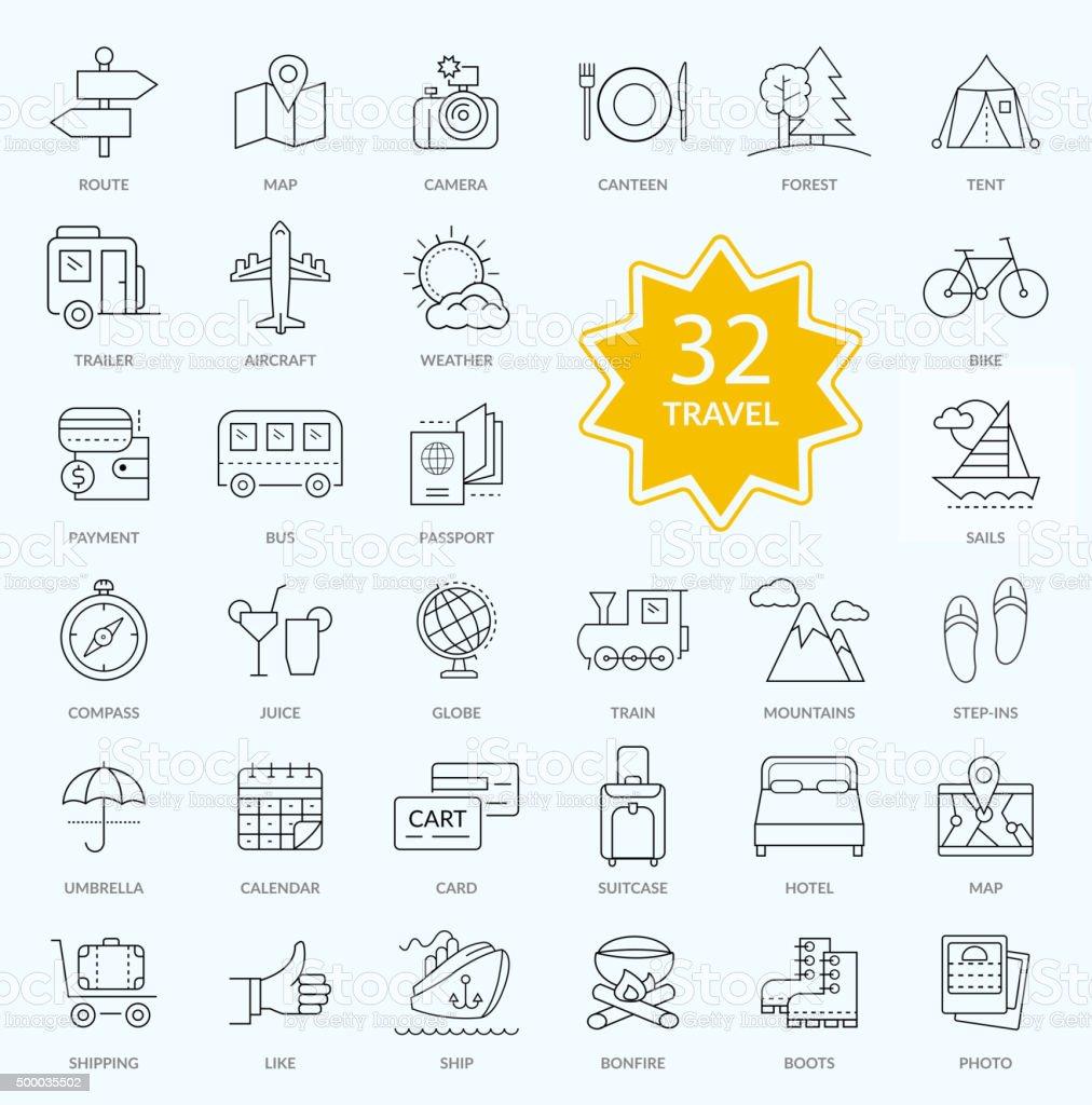 Set of Travel Icon Linear Design vector art illustration