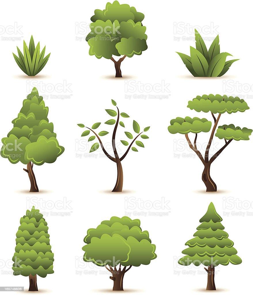 Set of trees plants vector art illustration