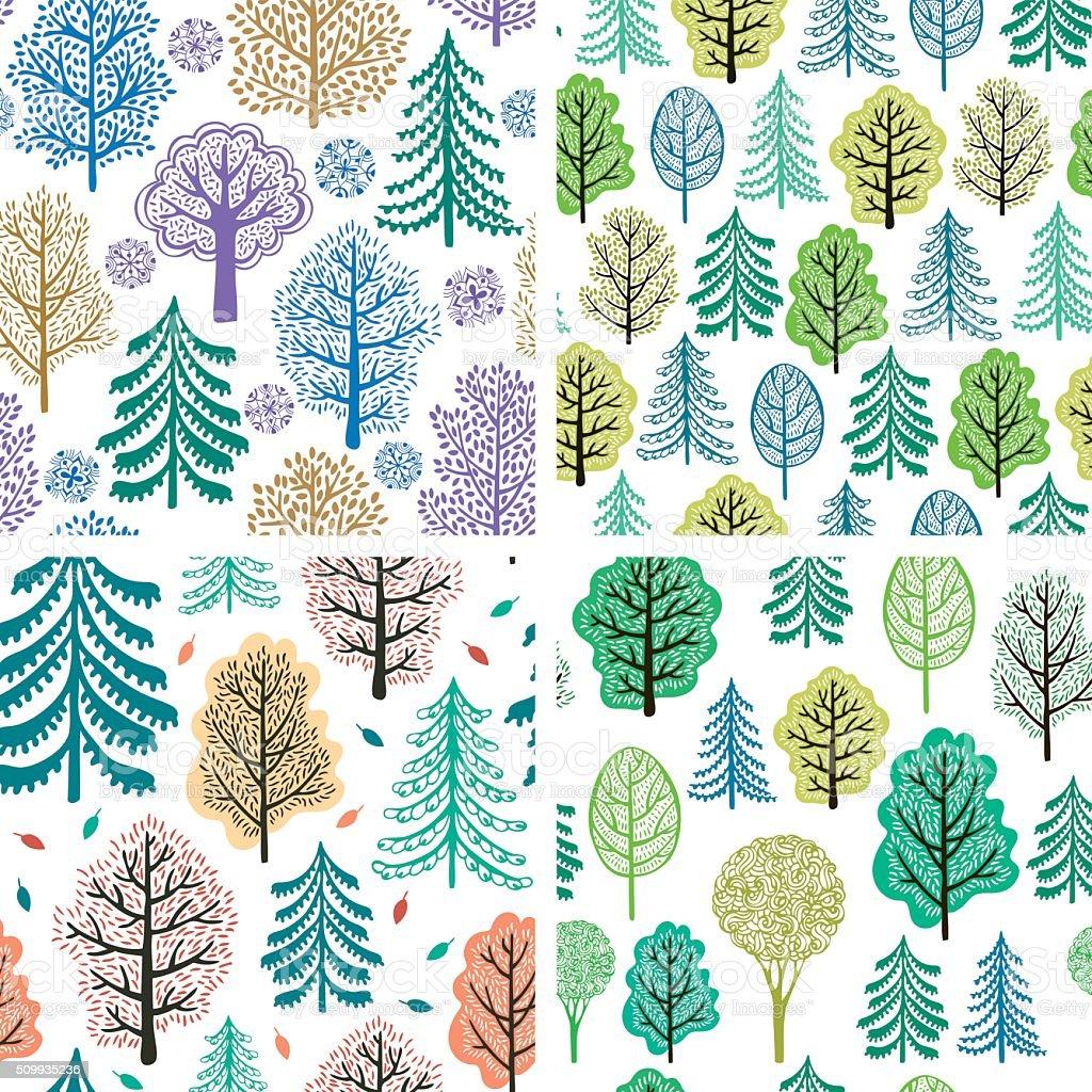 Set of trees seamless patterns vector art illustration