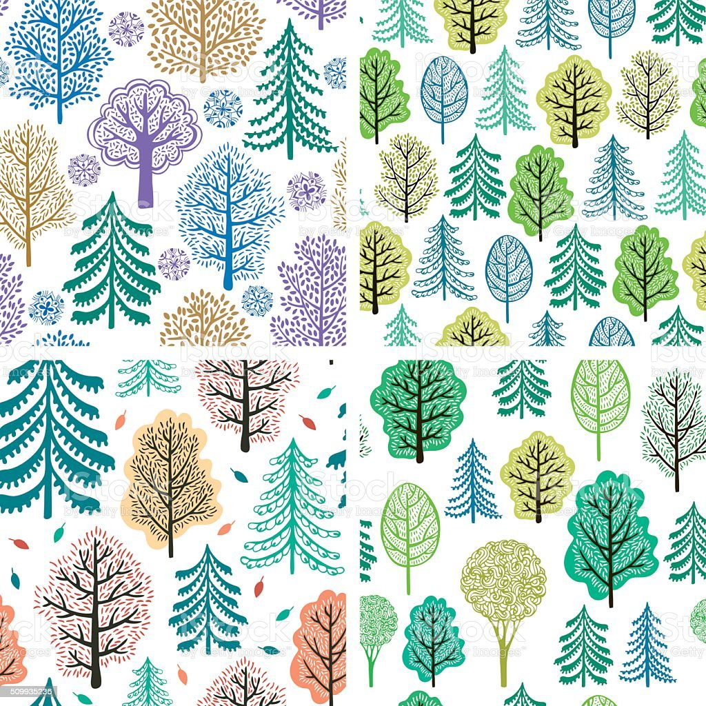 Set of trees seamless patterns vector art illustration