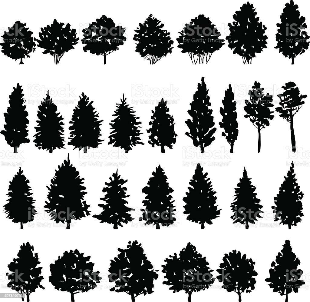 set of trees silhouettes vector art illustration