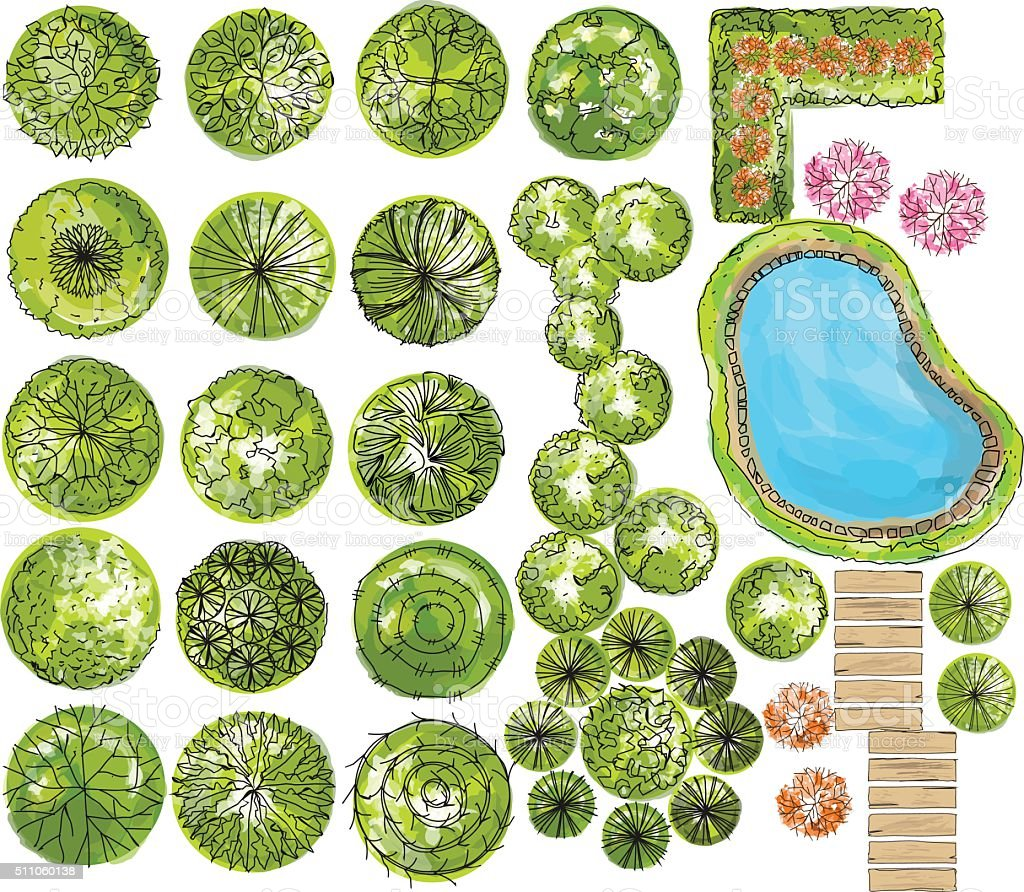 set of treetop symbols, for architectural or landscape design. vector art illustration