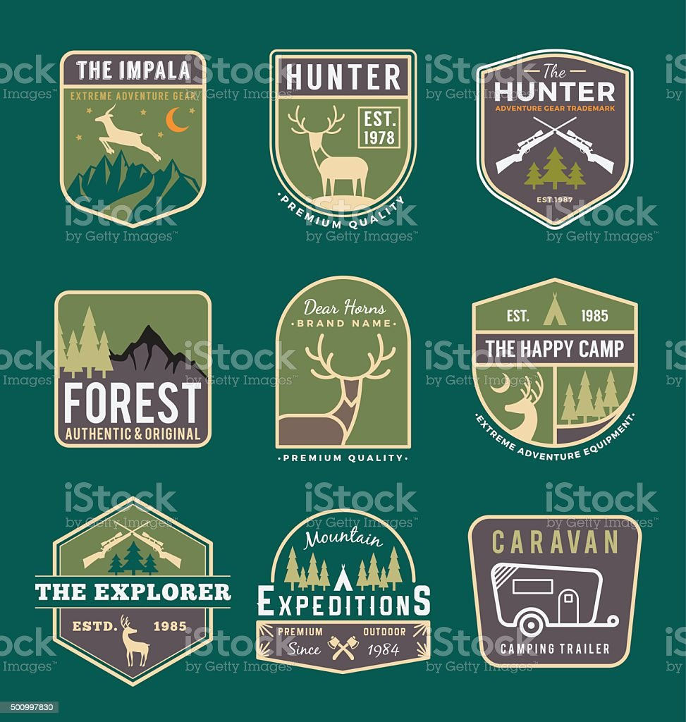Set of trekking and adventure gears vector art illustration
