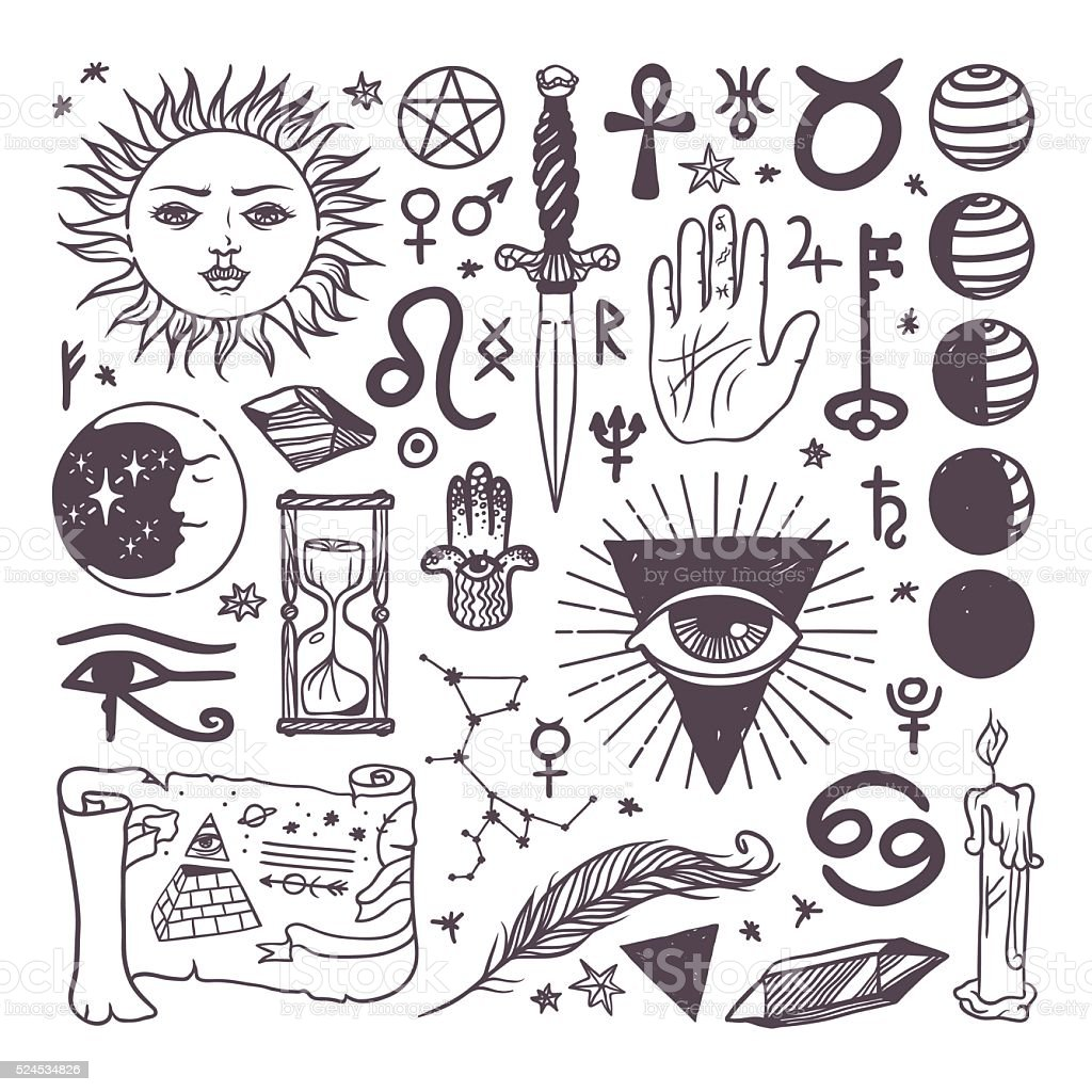Set of trendy vector esoteric symbols collection sketch hand drawn vector art illustration