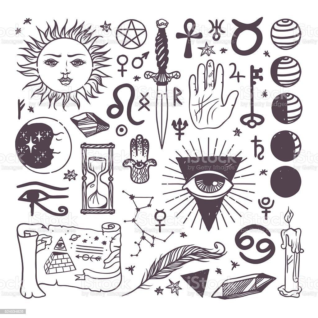 Set of trendy vector esoteric symbols collection sketch hand drawn vector art illustration