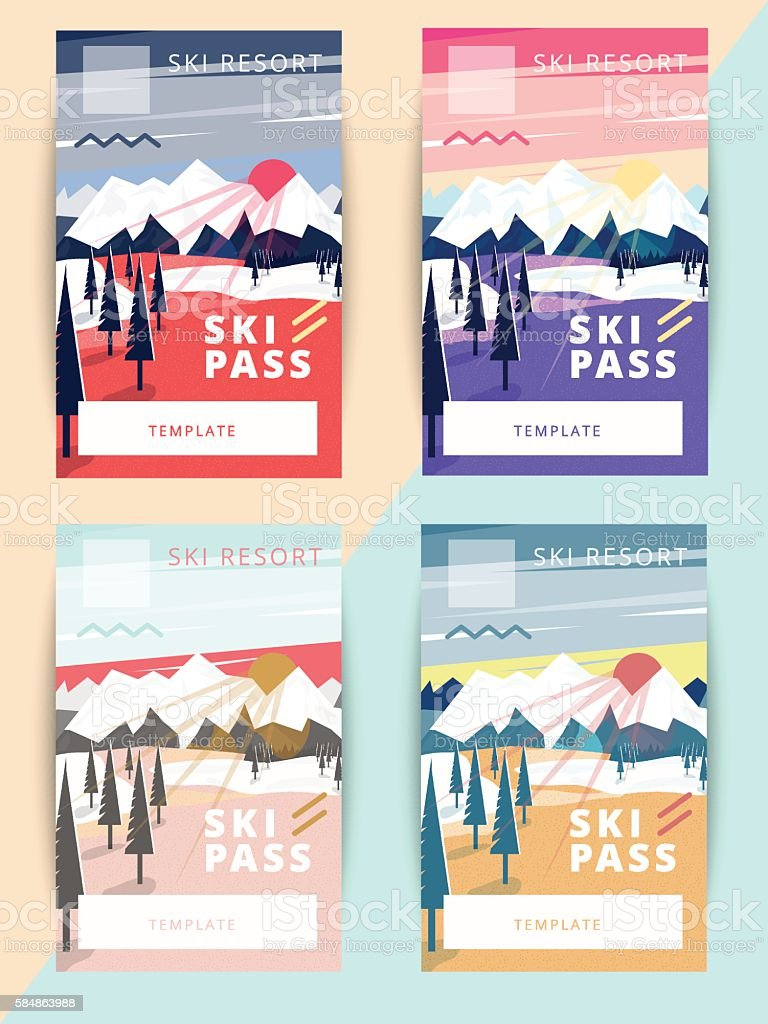 Set of trendy vector ski pass template design. vector art illustration