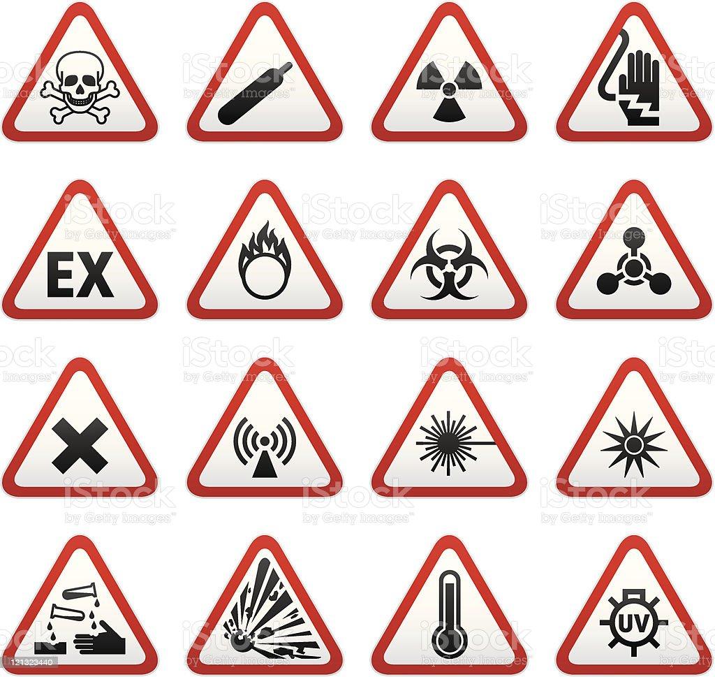 Set of Triangular Hazard Warning Signs royalty-free stock vector art