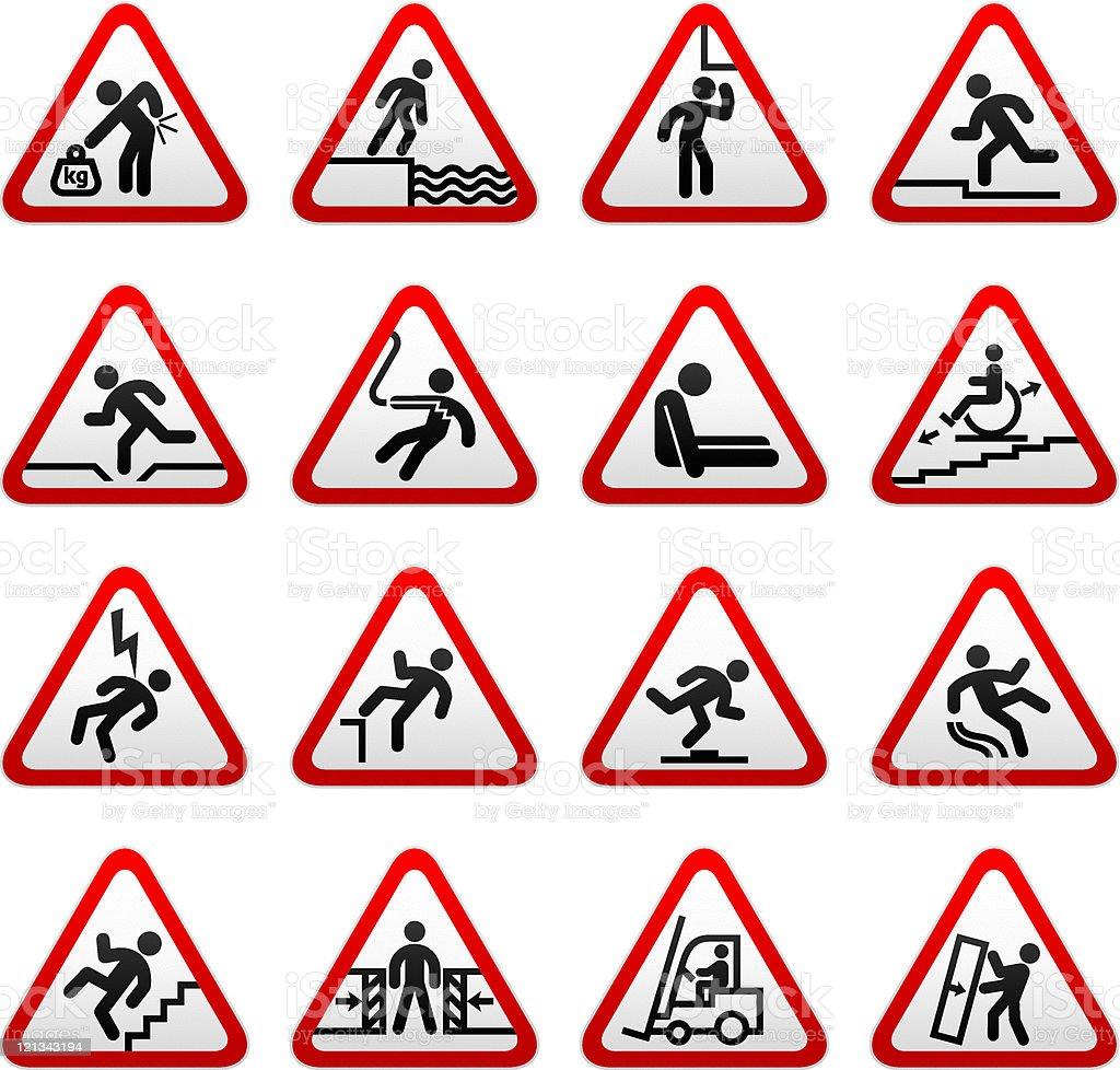 Set of Triangular Hazard-Warning Symbols royalty-free stock vector art