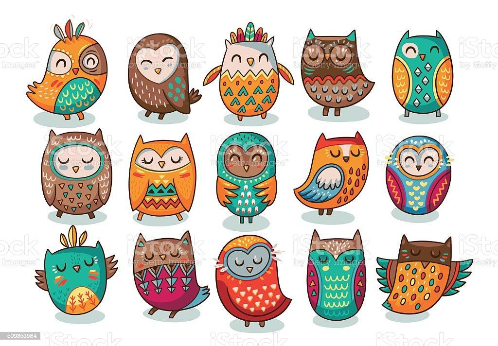 Set of tribal owls vector art illustration