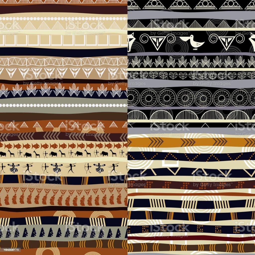 Set of tribal primitive african pattern vector art illustration
