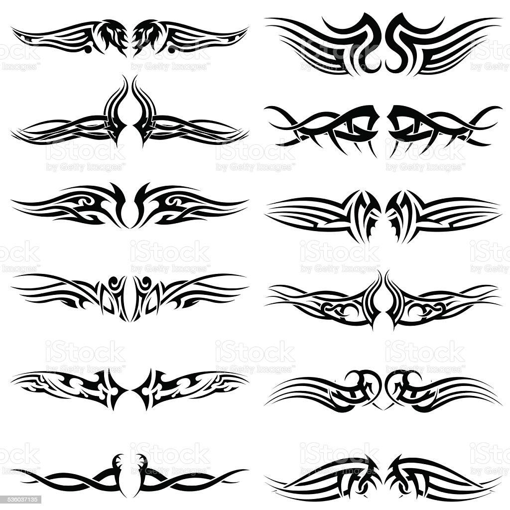 Set of tribal tattoos vector art illustration