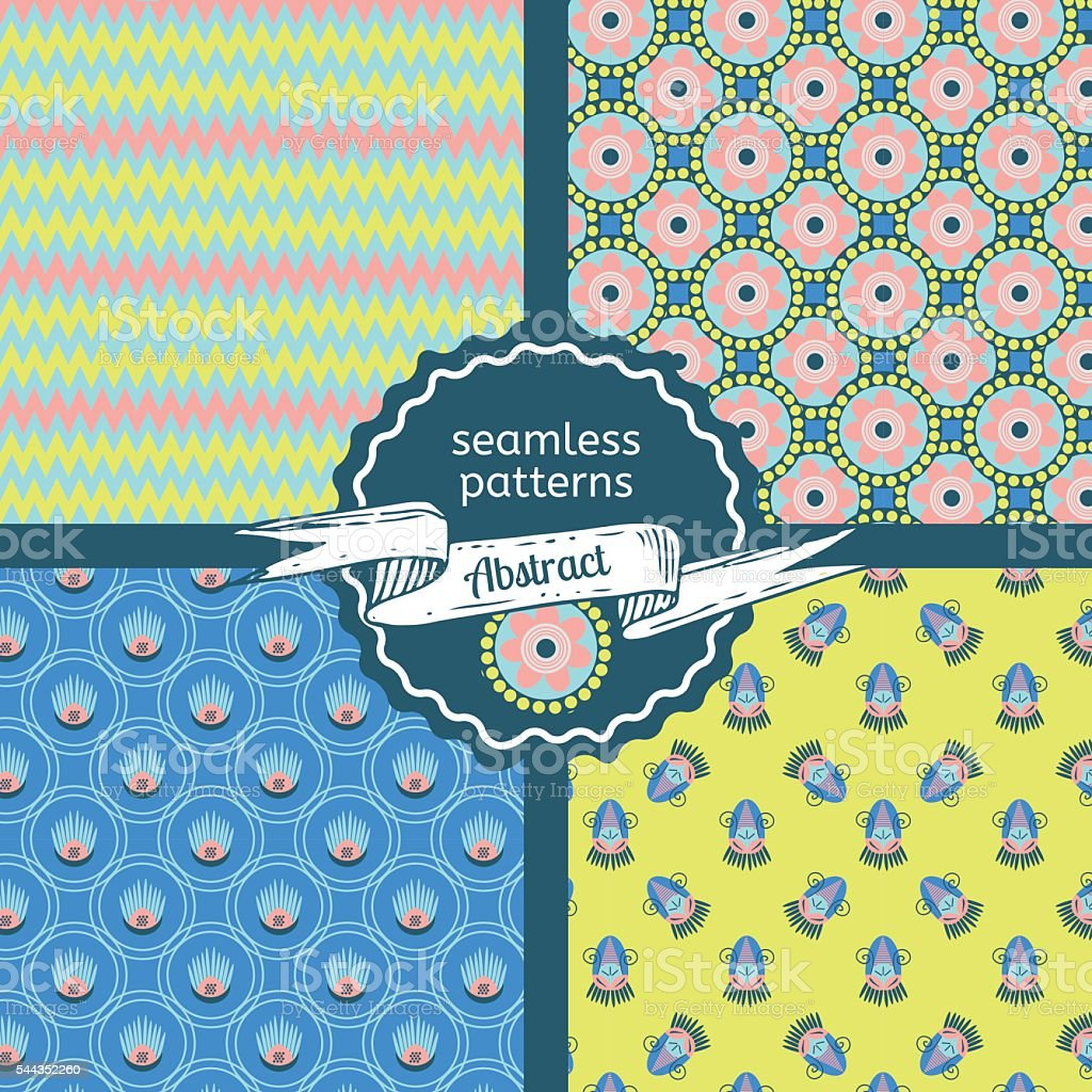 Set of tribal texture geometric seamless patterns vector art illustration
