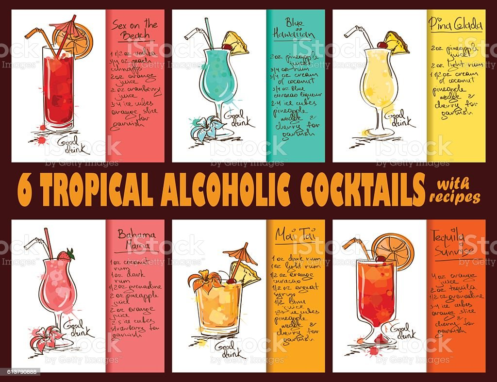 Set Of Tropical Alcoholic Cocktails With Recipes. vector art illustration