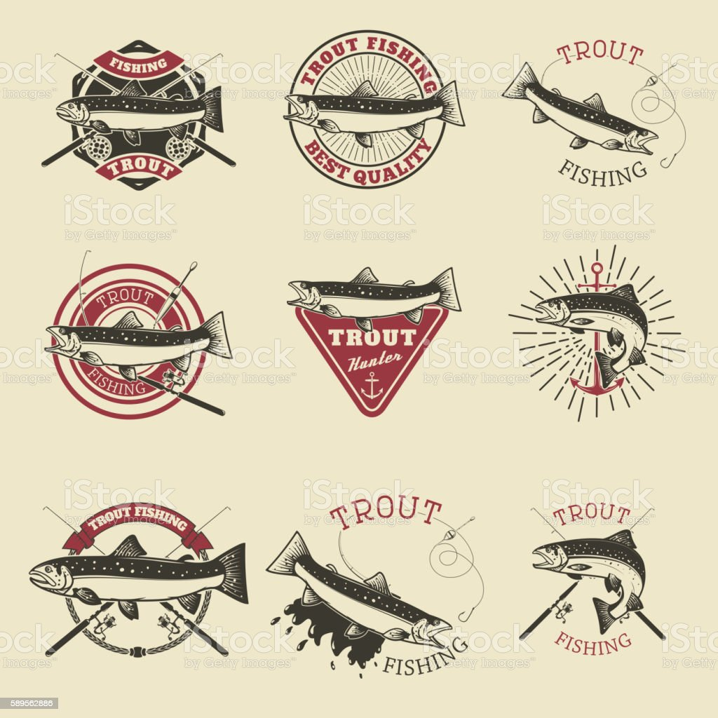 Set of trout fishing labels. Fishing club, team emblems template vector art illustration