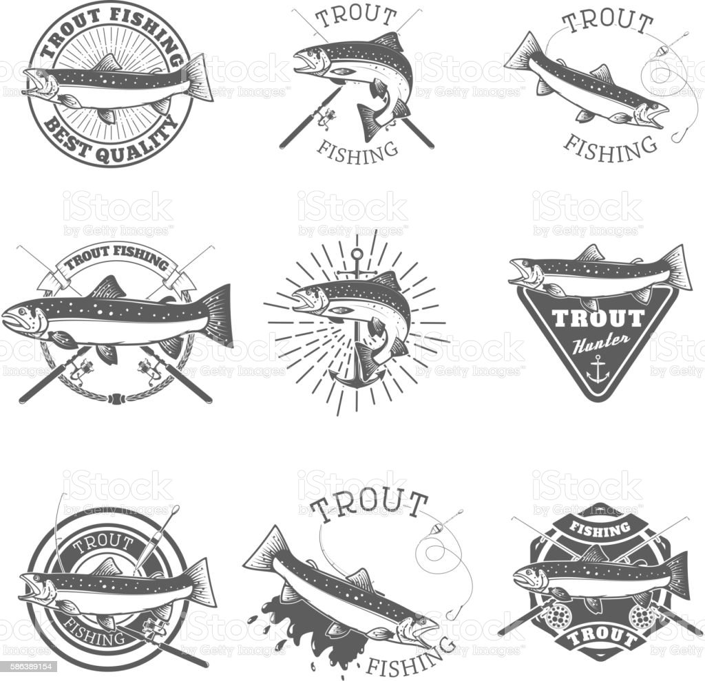 Set of trout fishing labels. vector art illustration