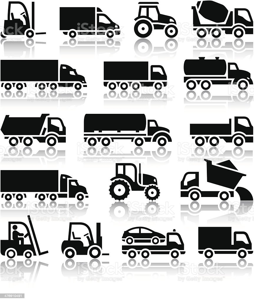 Set of truck black icons vector art illustration