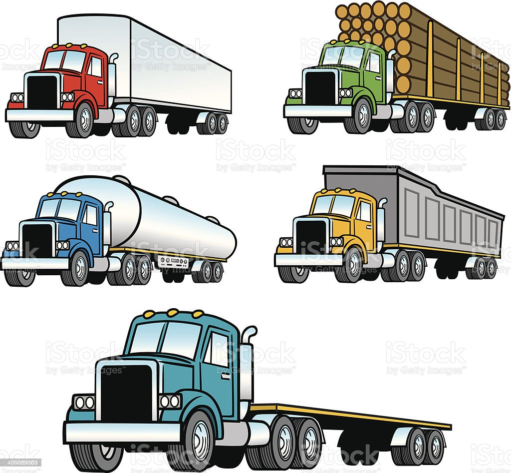 Set of Trucks royalty-free stock vector art