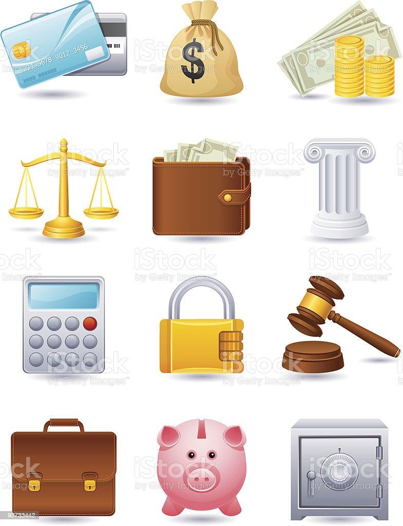 Set of twelve cartoon finance icons royalty-free stock vector art
