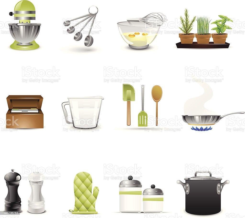 Set of twelve cooking utensils and kitchen furniture icons vector art illustration