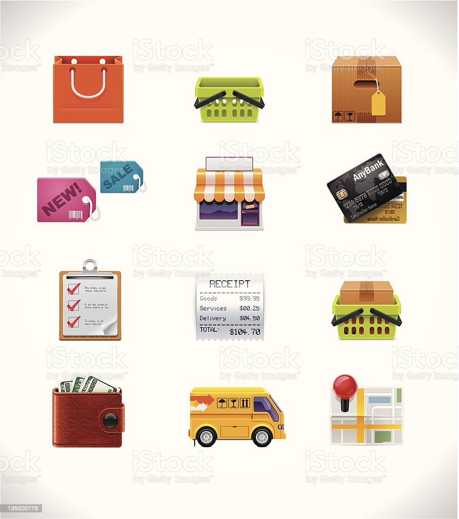 Set of twelve different shopping icons royalty-free stock vector art