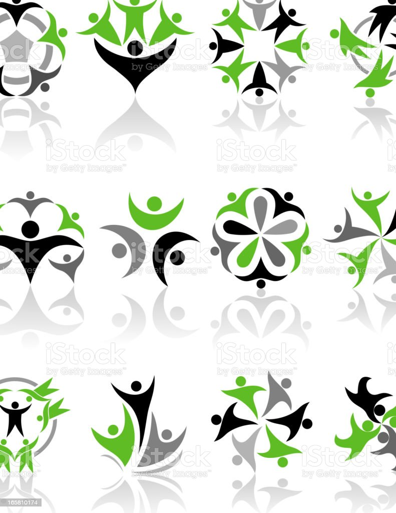 A set of twelve people related icons and symbols royalty-free stock vector art