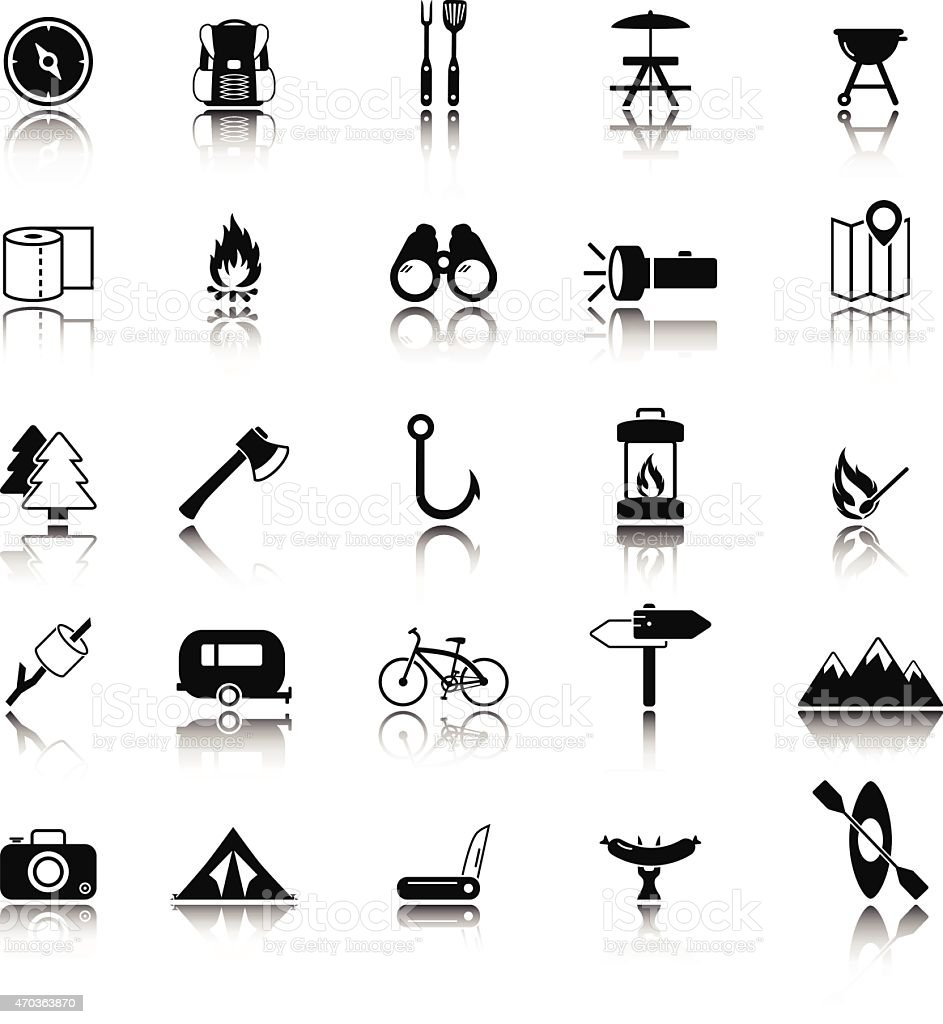 A set of twenty five camping icons vector art illustration