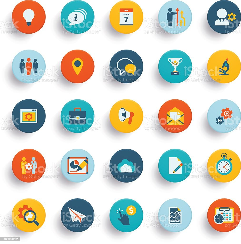 Set of twenty five material design icons and buttons vector art illustration